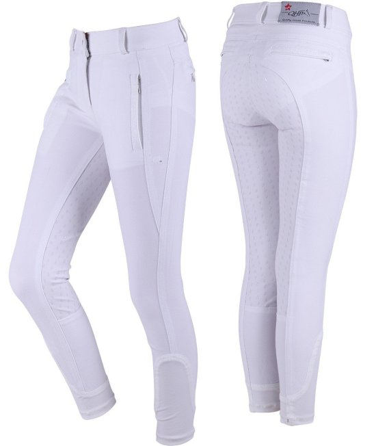 Breeches Mellany Junior anti-slip full, White Rideudstyr